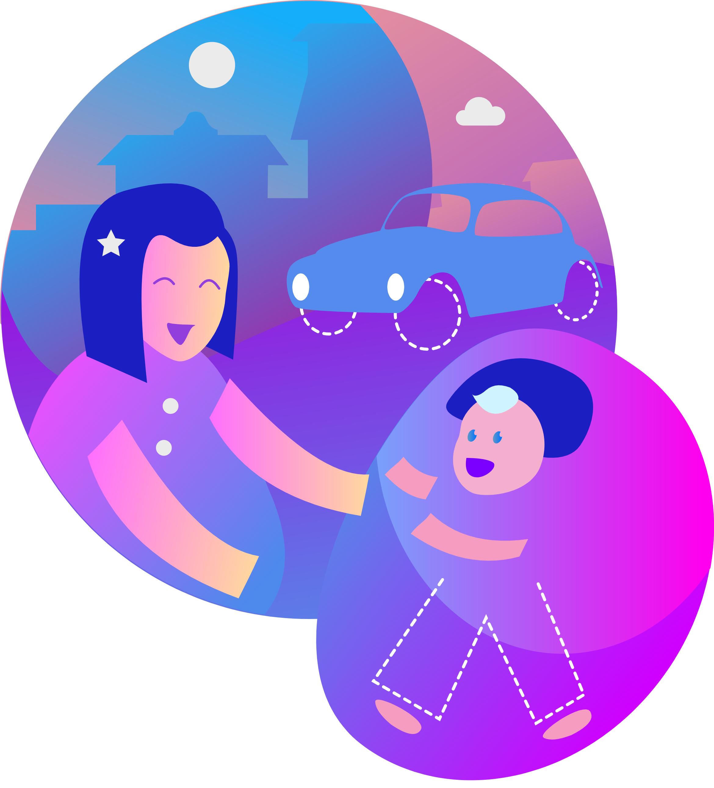 mtime Moncierge with child and car illustration