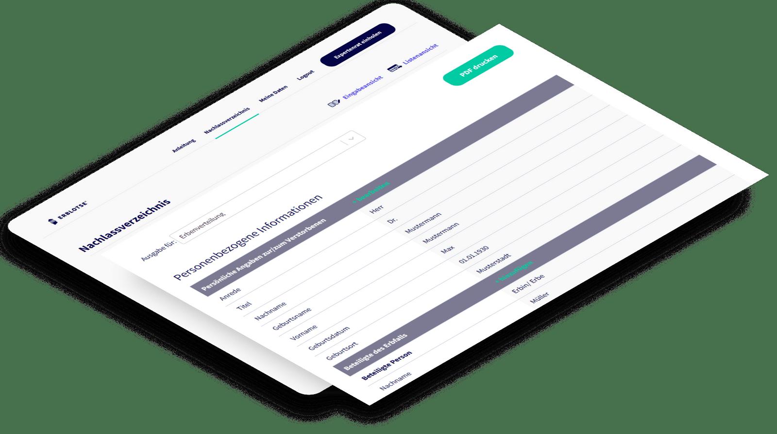 Nachlassverzeichnis online, erfassen Sie Ihr Erbe schnell, einfach und sicher