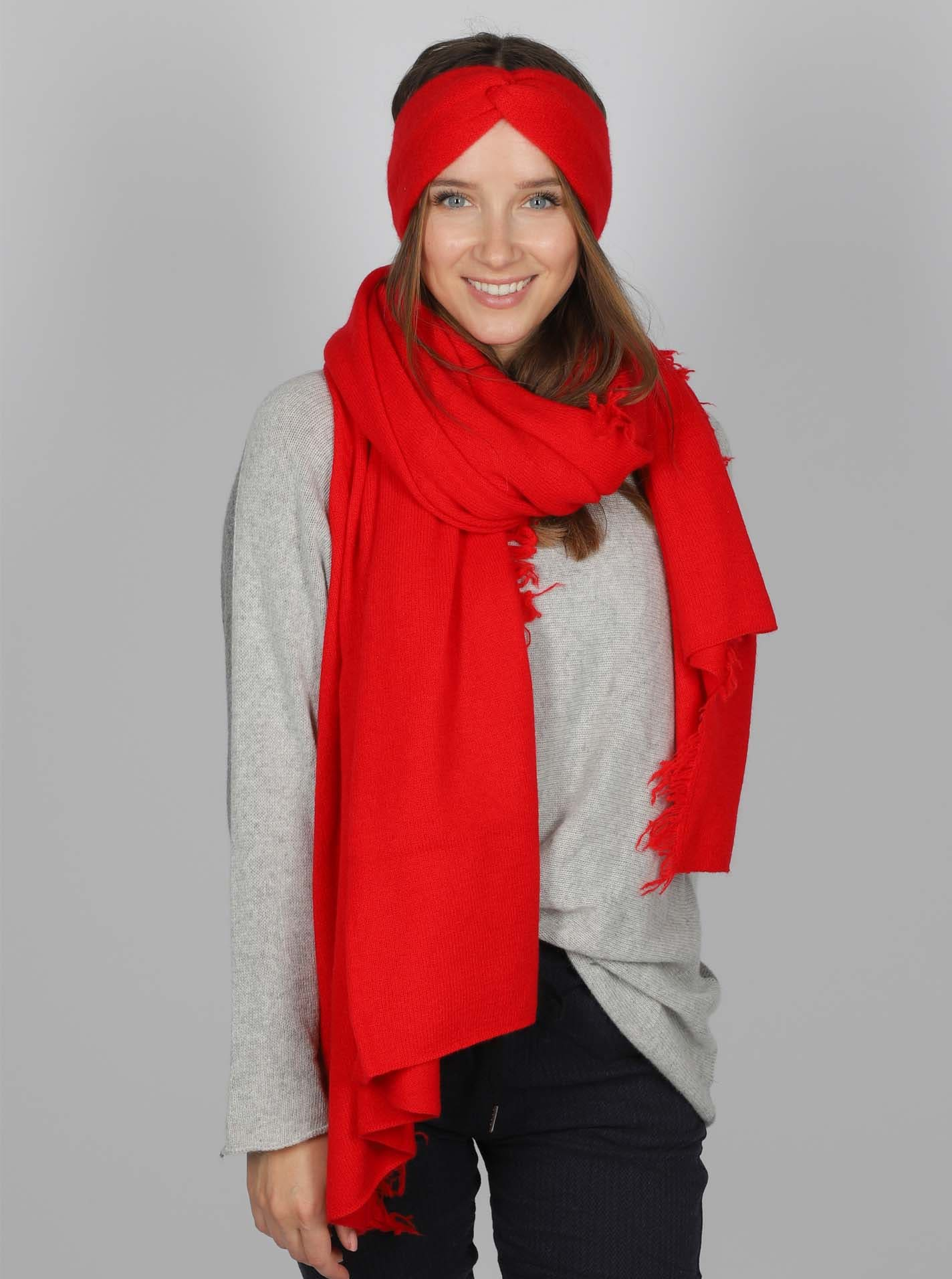 Fransenschal Cashmere Rot
