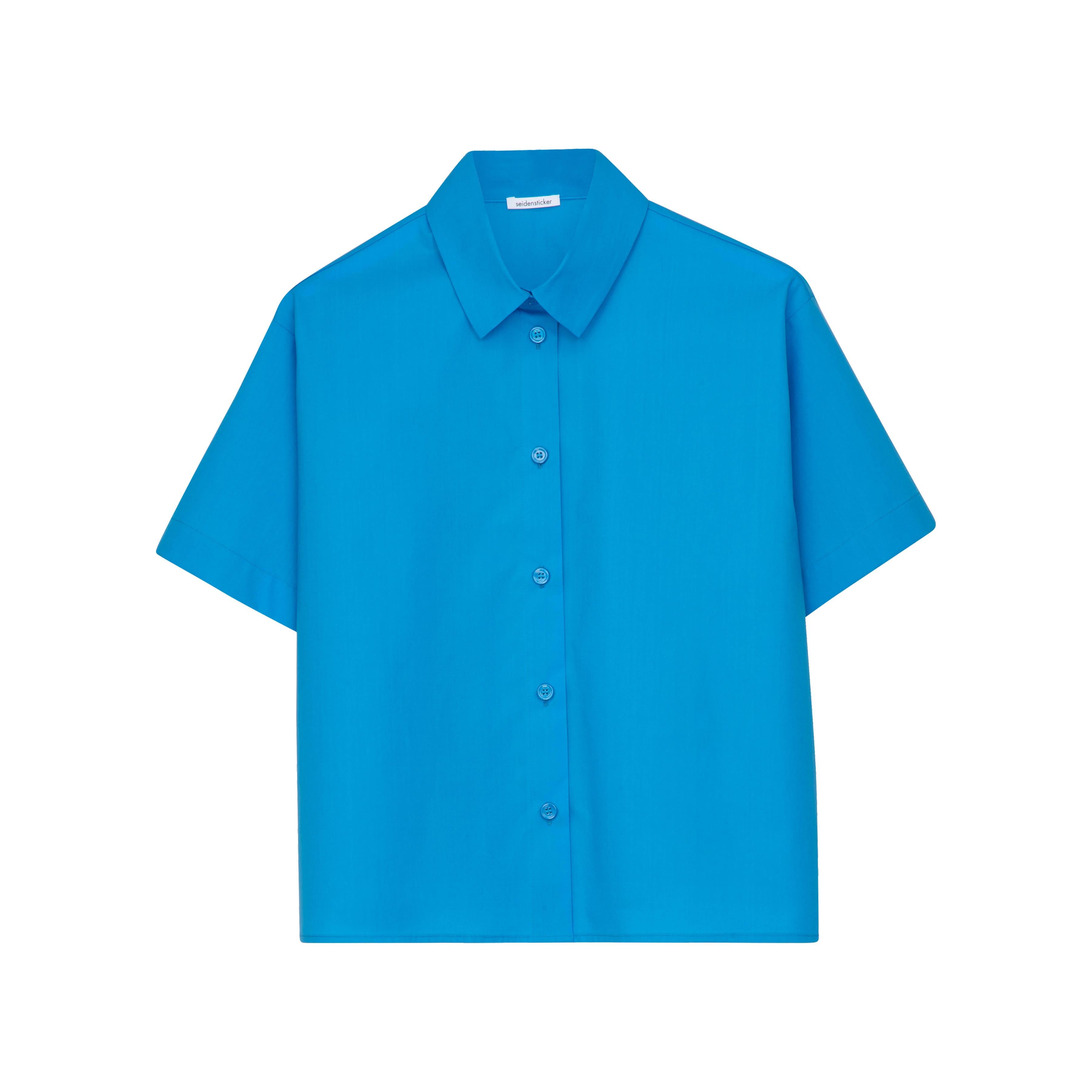 Hemdbluse Cropped Blau
