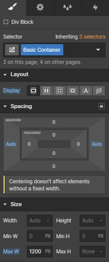 Setting a maximum width so that designs do not become too stretched on large monitors