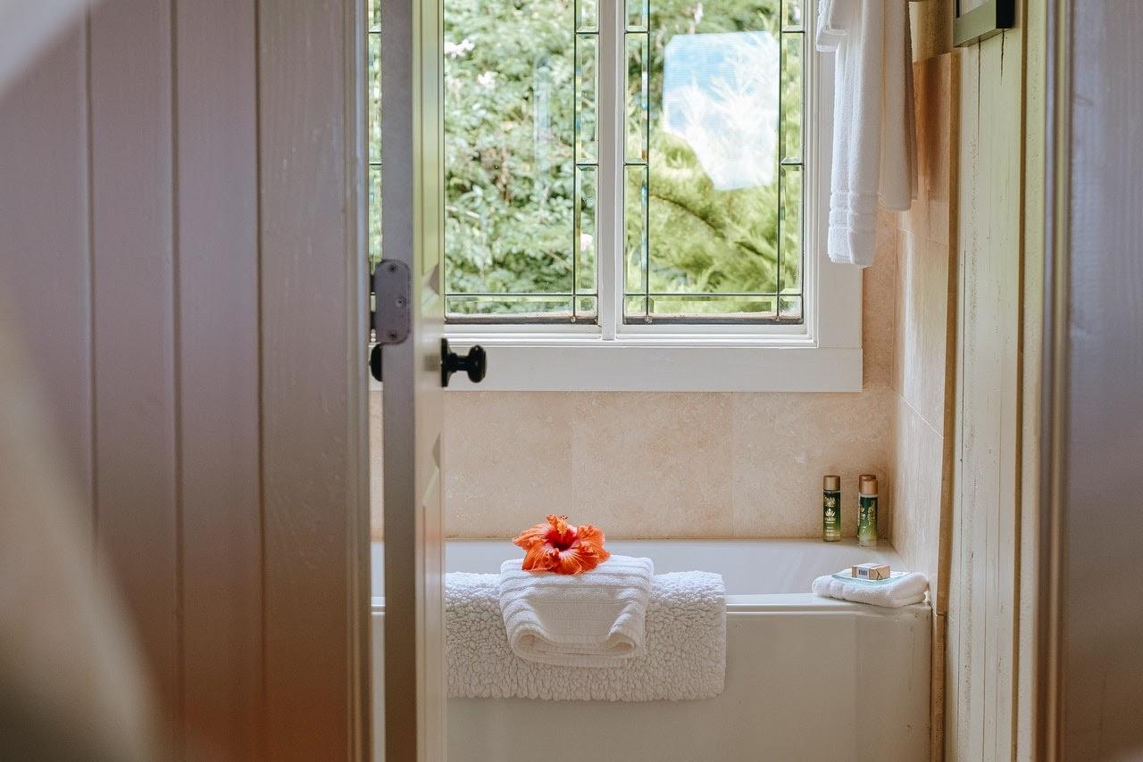 modern relaxing bathroom flower tub towels sun