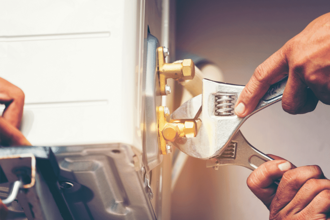 tools air conditioner hands repair help nuts and bolts water connection