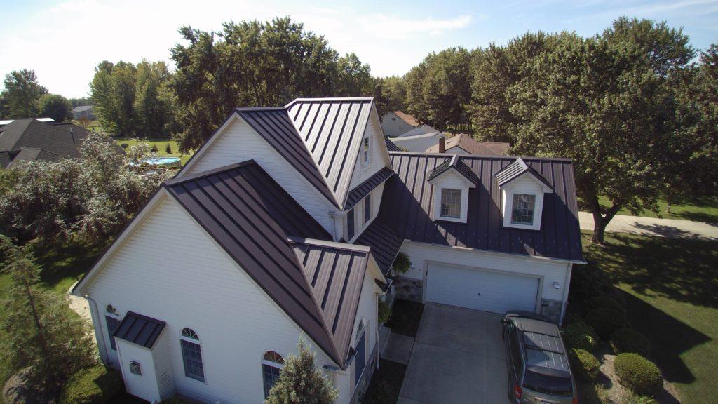 Dark Bronze textured standing seam metal roof