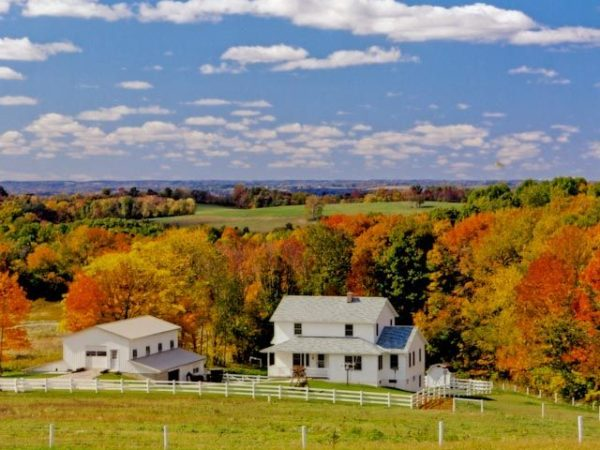 beautiful amish country hillside in Holmes county ohio