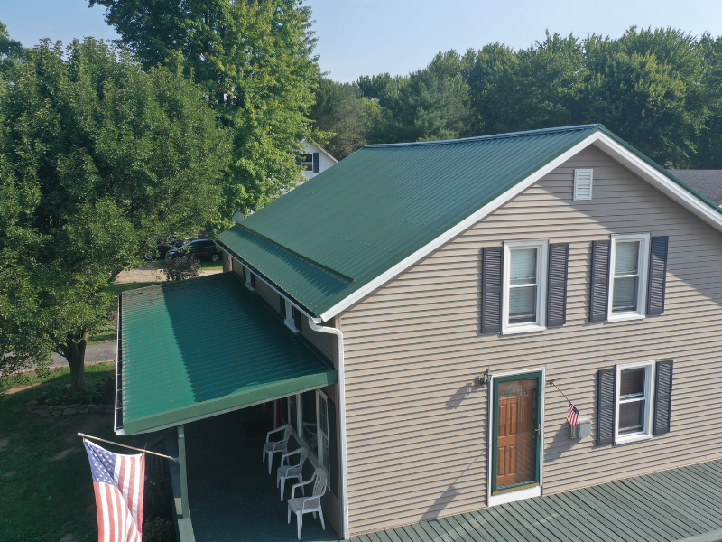 We completed a new metal roof and gutters on this home in Elyria, Ohio.
