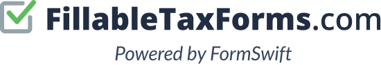 The FillableTaxForms Logo. FillableTaxForms is powered by FormSwift.