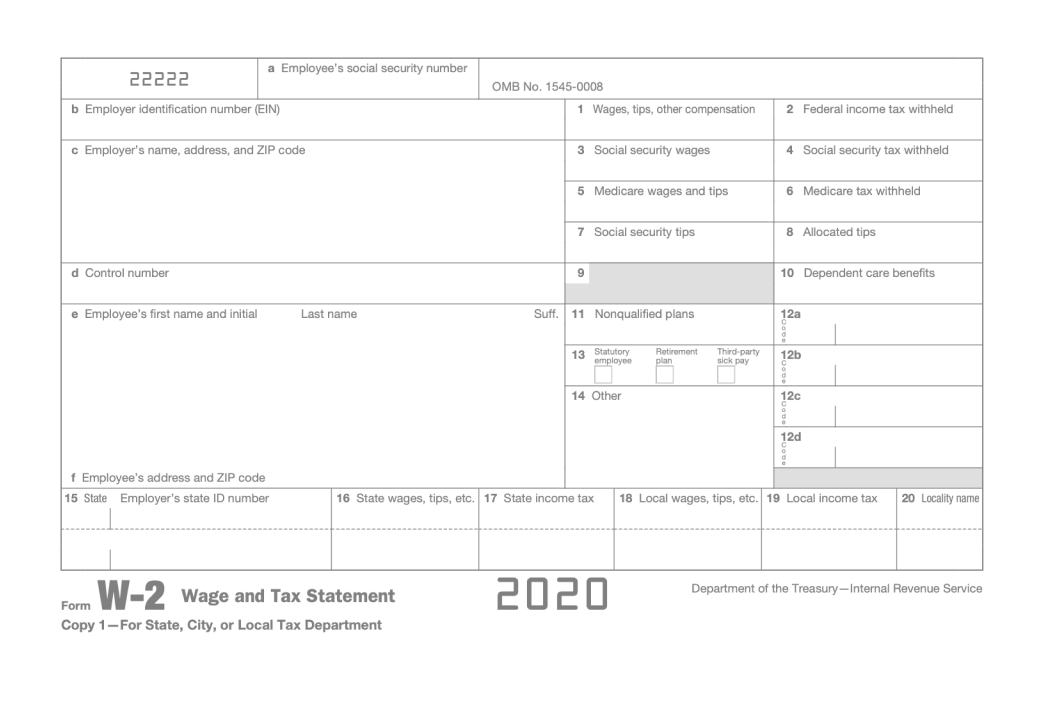 A preview of a blank W-2 document
