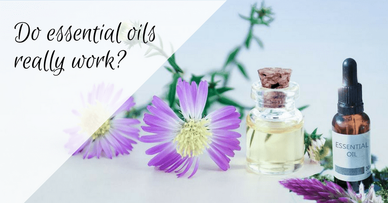 Collage of essential oil bottle and flowers used for dental care