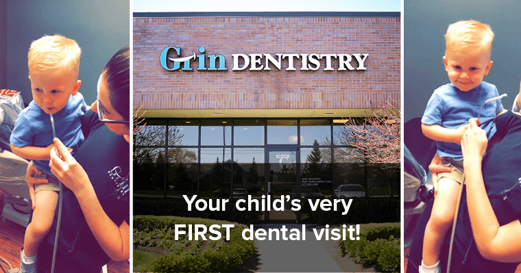 collage of child's first dental visit and our office