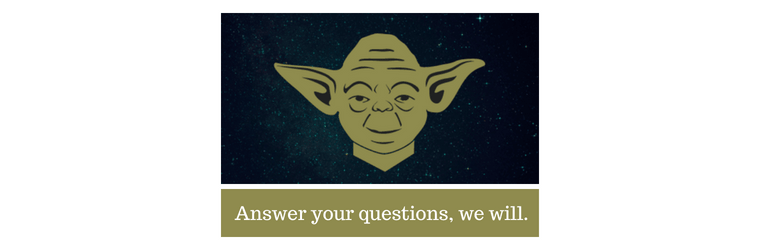 Cartoon Yoda with caption: Answer your questions we will