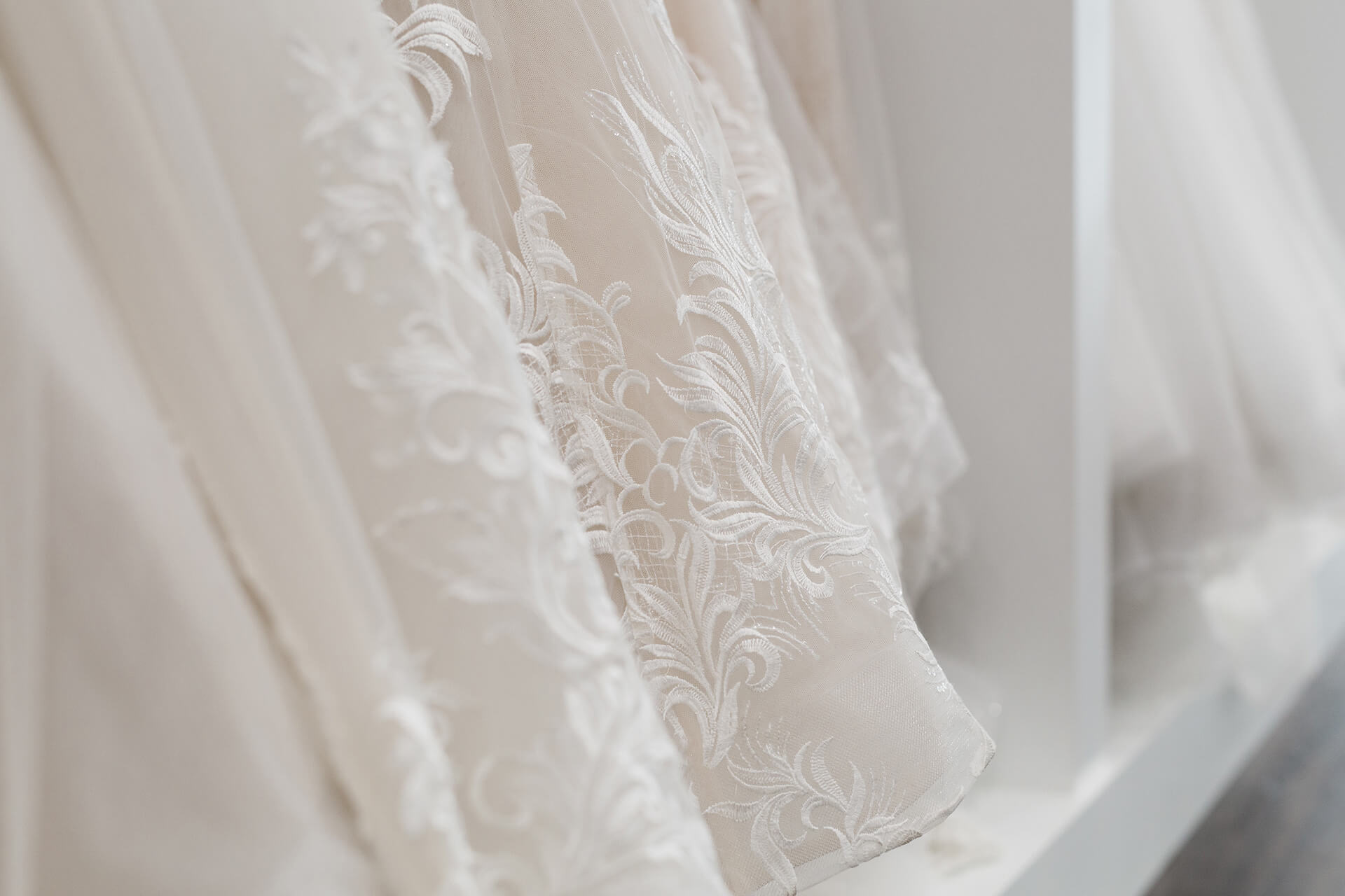 close up shot of Belle Mariee Bridal dresses
