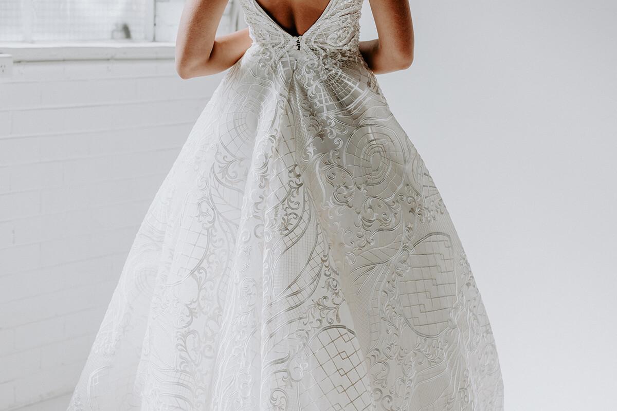back of a woman wearing a wedding dress