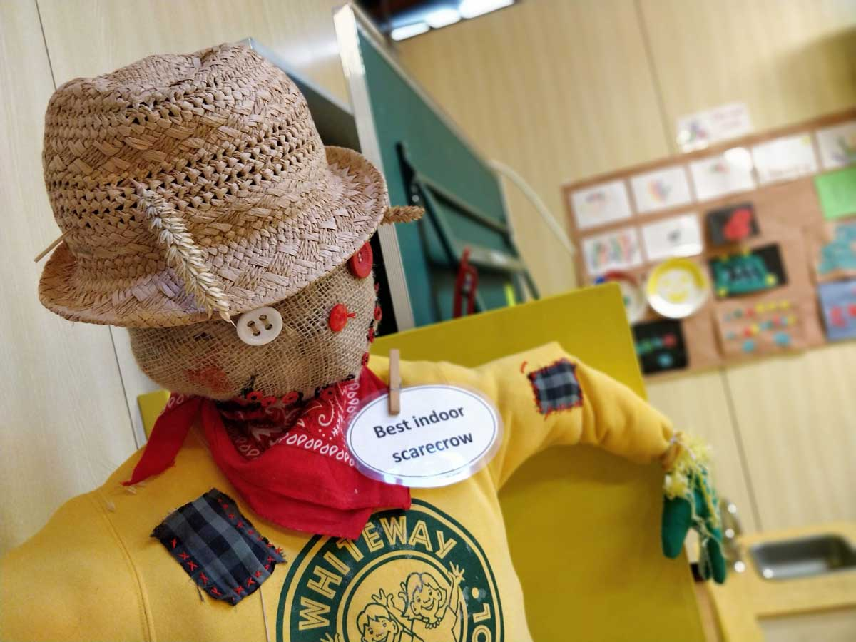 A scarecrow model at Whiteway Nursery