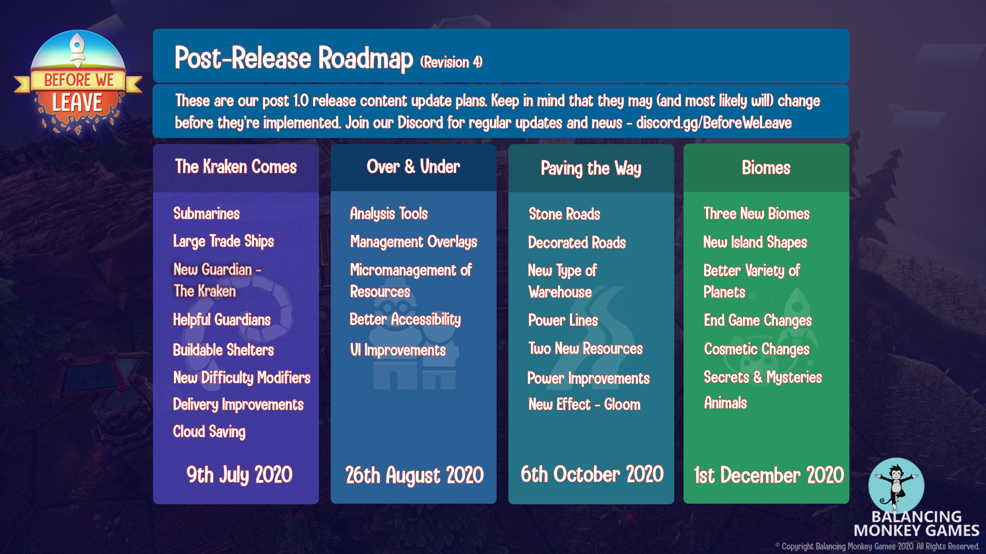 Post-Release Roadmap of updates due 9th July, 26th August, 6th October and 1st December 2020