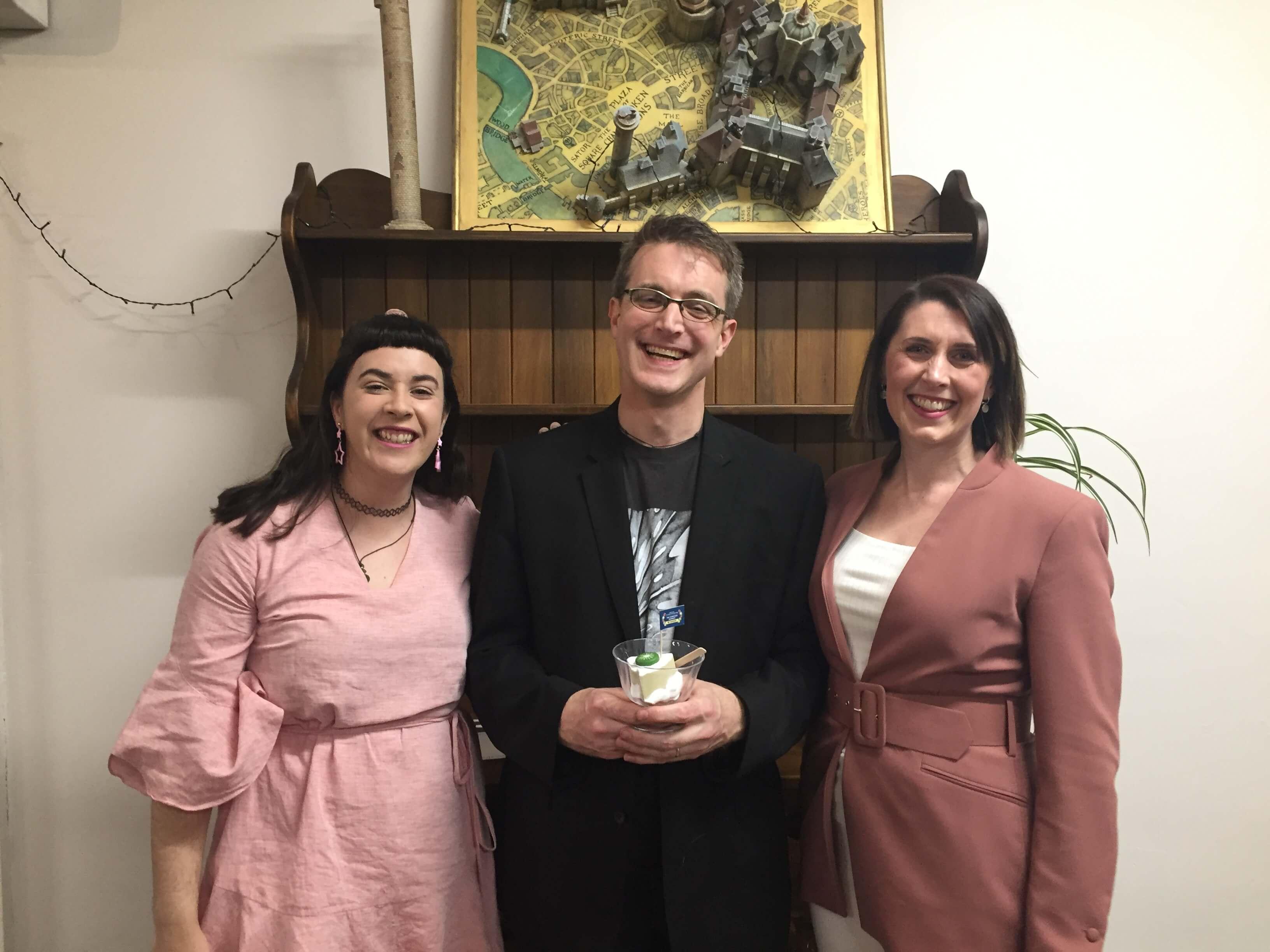 Sam Barham from Balancing Monkey Games, with Lisa Blakie and Zoe Hobson from Runaway Play, Dunedin's three Pav winners