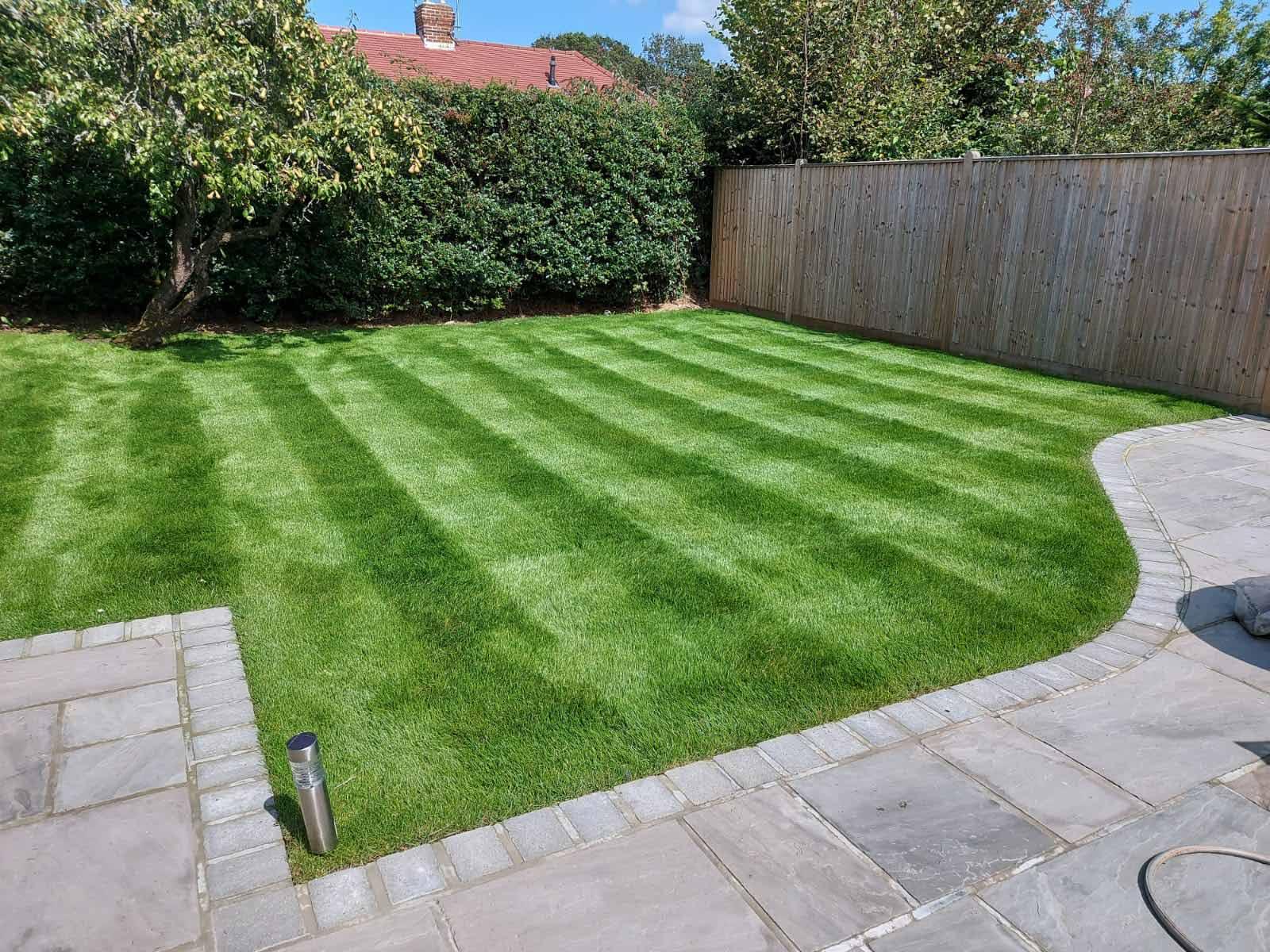 freshly cut garden lawn