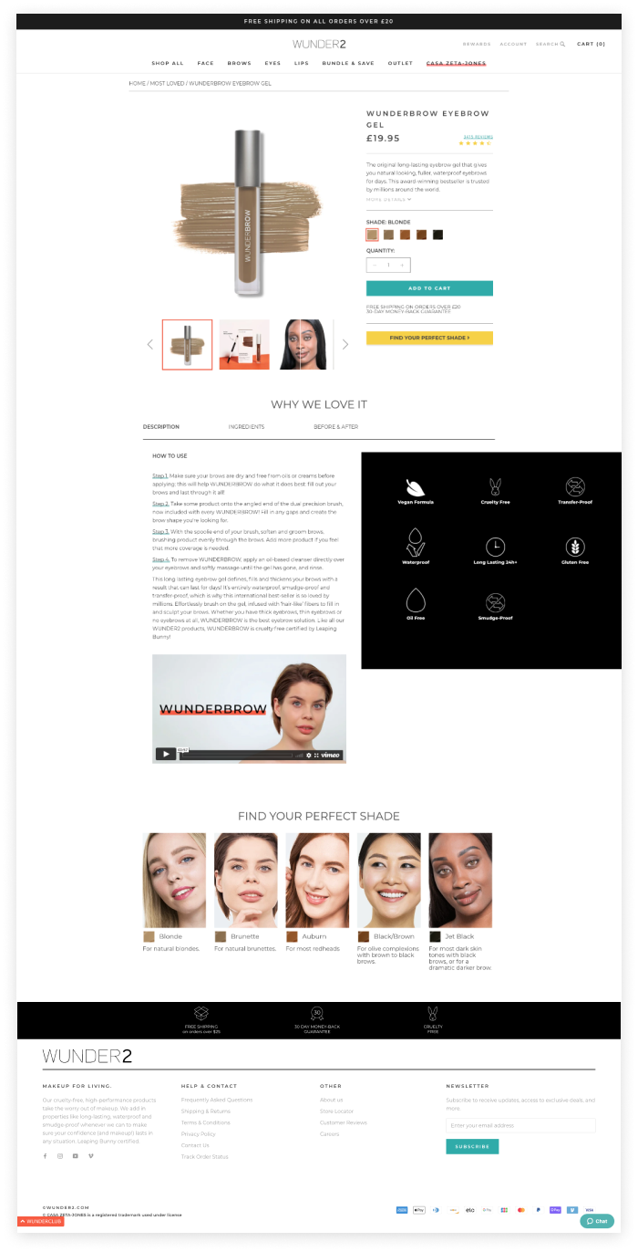 Wunder2 Shopify Plus product page