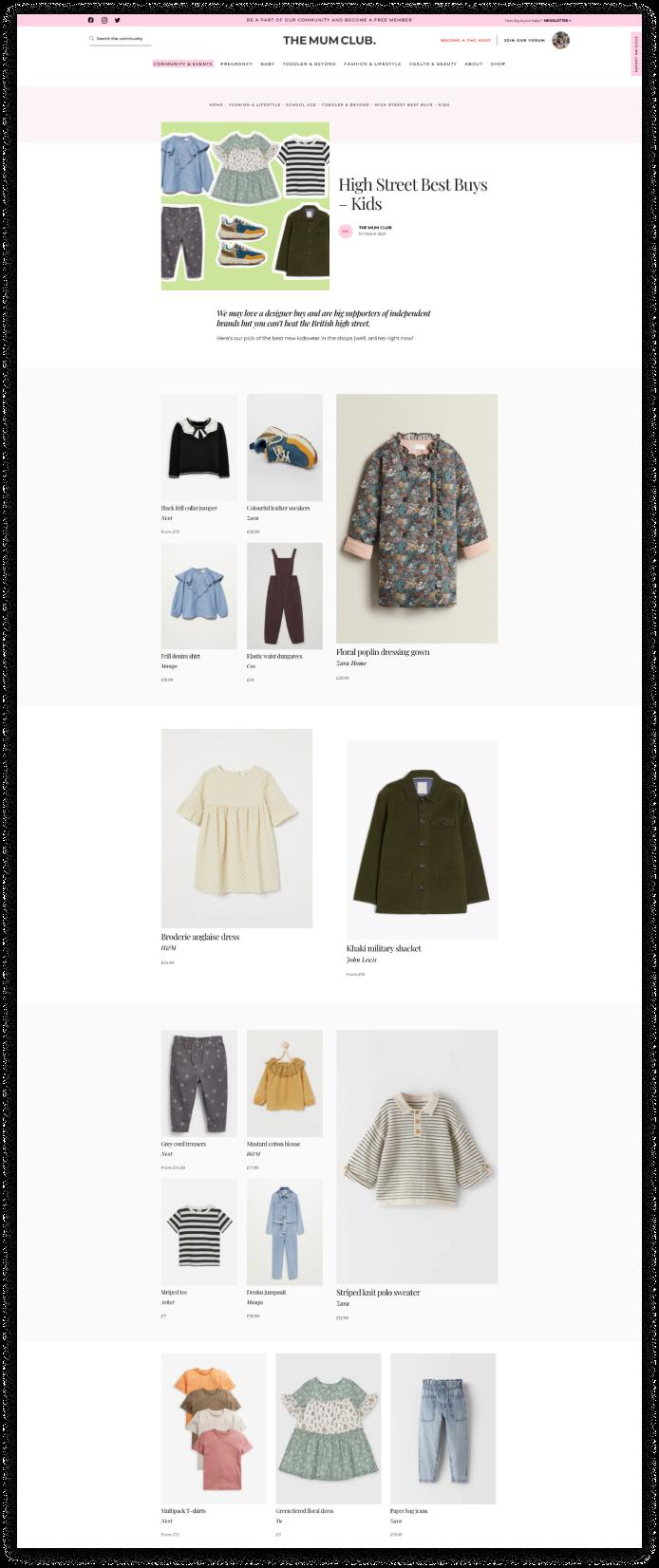 The Mum Club Webflow website