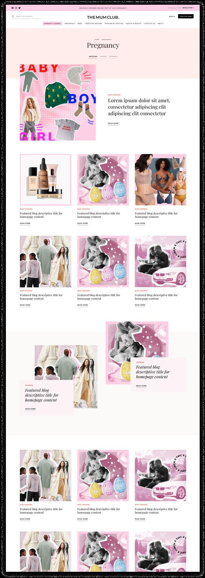 The Mum Clubs Webflow website