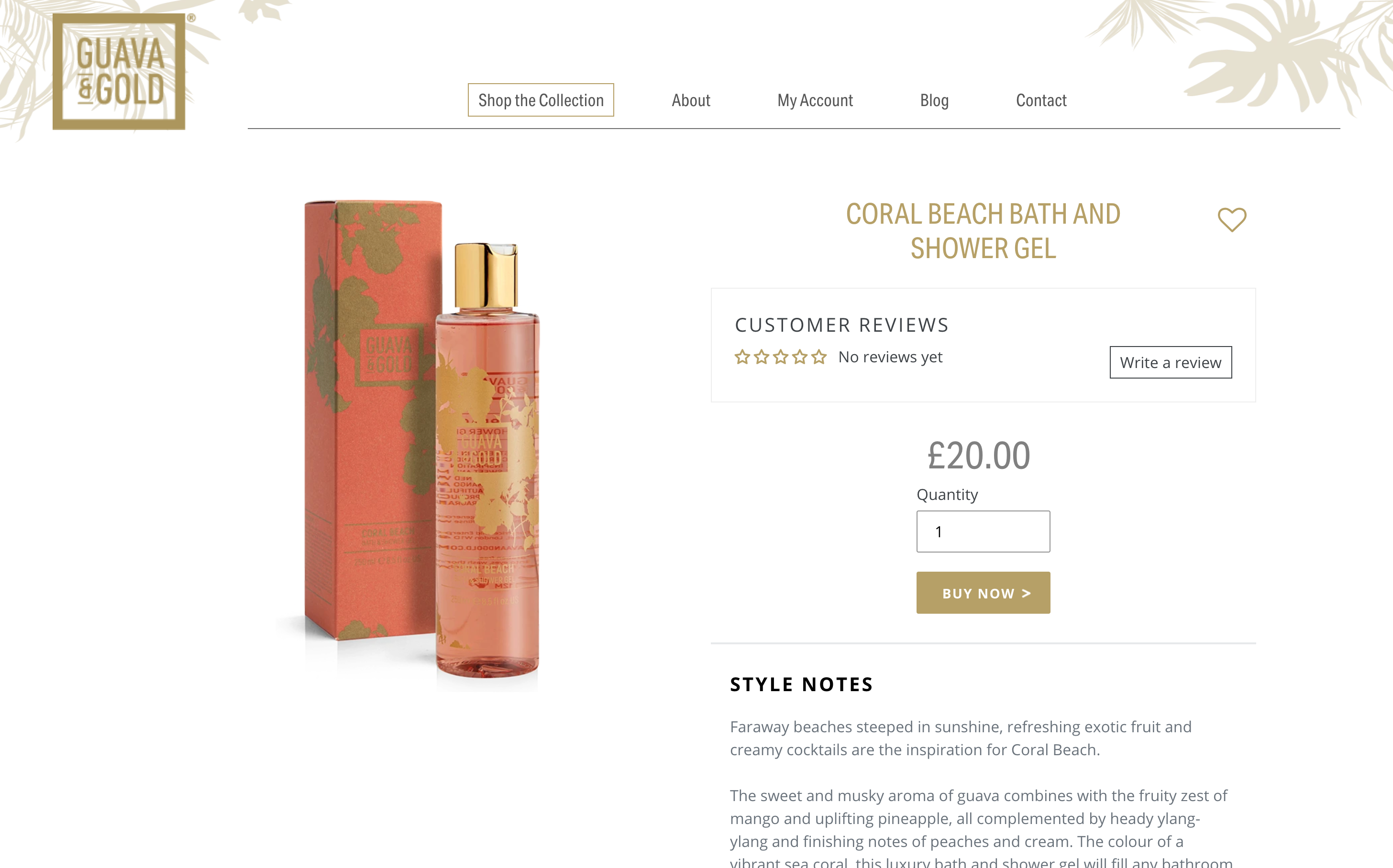 Guava & Gold Shopify website