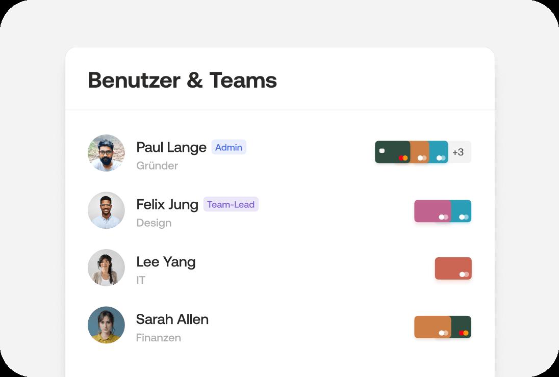 Kreditkarten für Teams und weitere Benutzer
