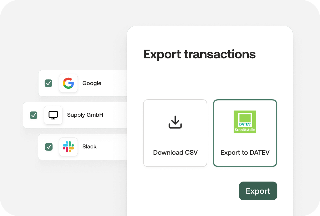 Export invoices with DATEV or download as CSV file
