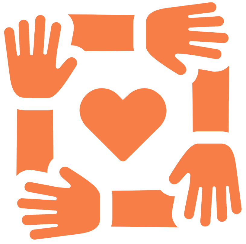 community symbol hands in a circle and heart in the middle