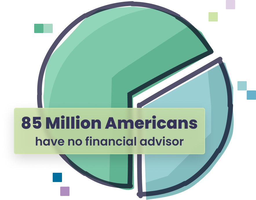 A pie chart showing that 85 million people don't have a financial advisor