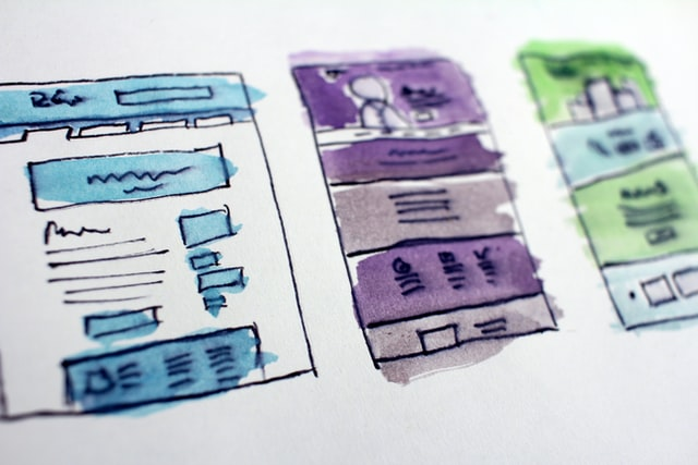 A storyboard showing different user interface concepts