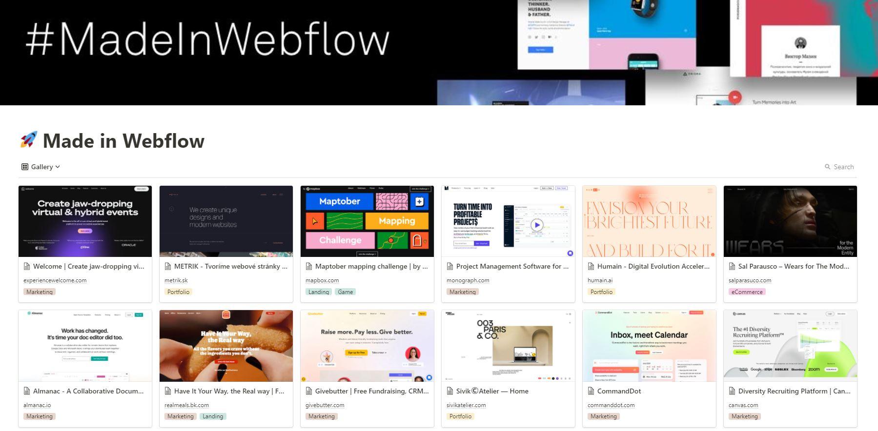 Made In Webflow Gallery by Cory Moen