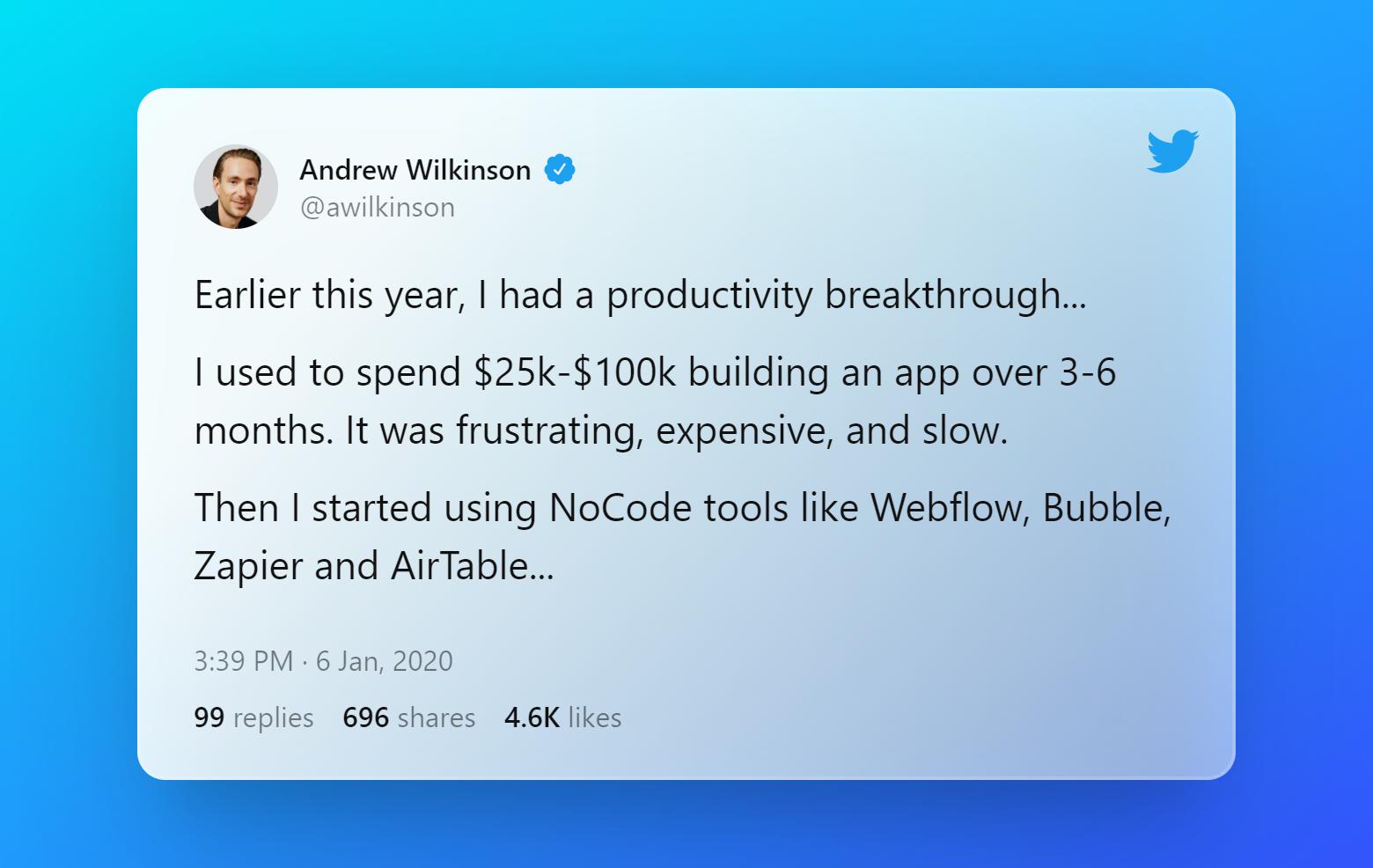 Tweet by Andrew Wilkinson