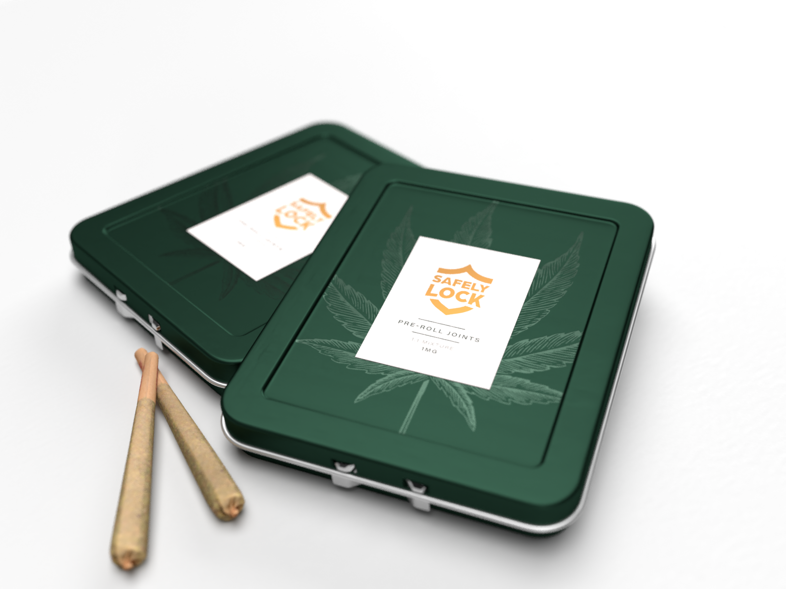 Folding sustainable, child-resistant, air-tight, aluminum tin packaging for cannabis joints, pre-rolls, and dogwalkers