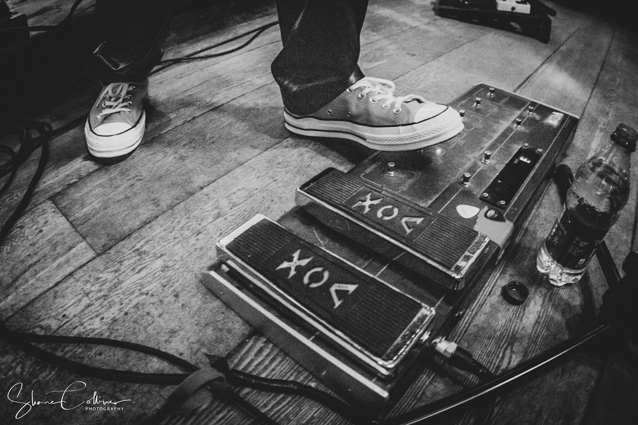 close up of Vox guitar pedals on stage