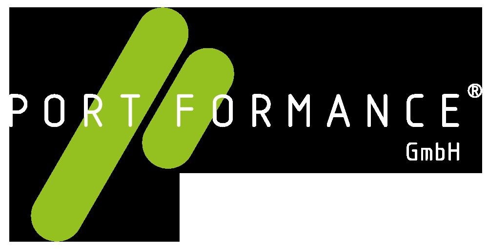 PORTFORMACE Logo in Weiß.