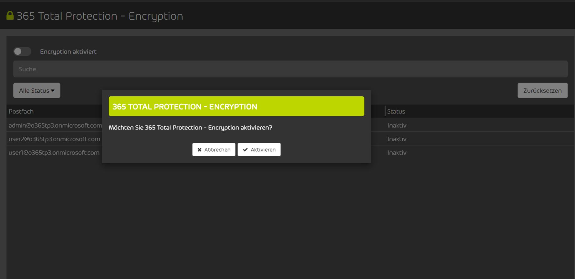 Aktivierung der 365 Total Encryption im Control Panel Hornetsecurity