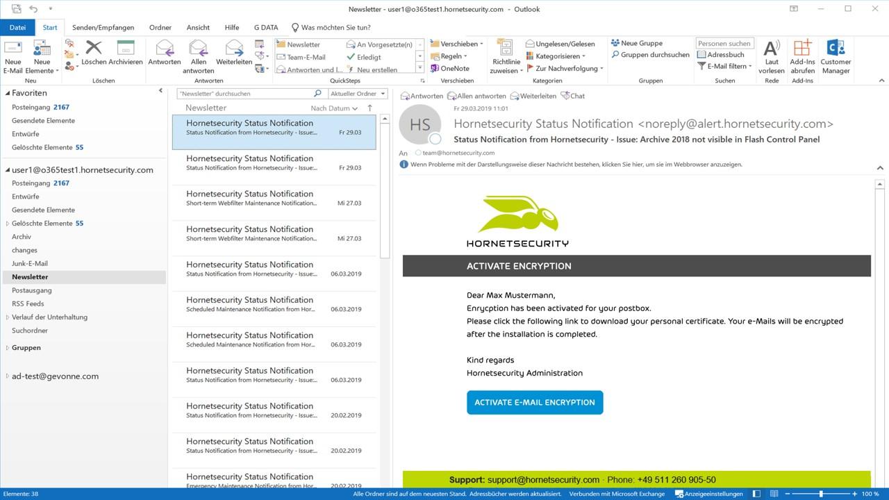 Ansicht zur Funktion von 365 Total Encryption im E-Mail-Postfach