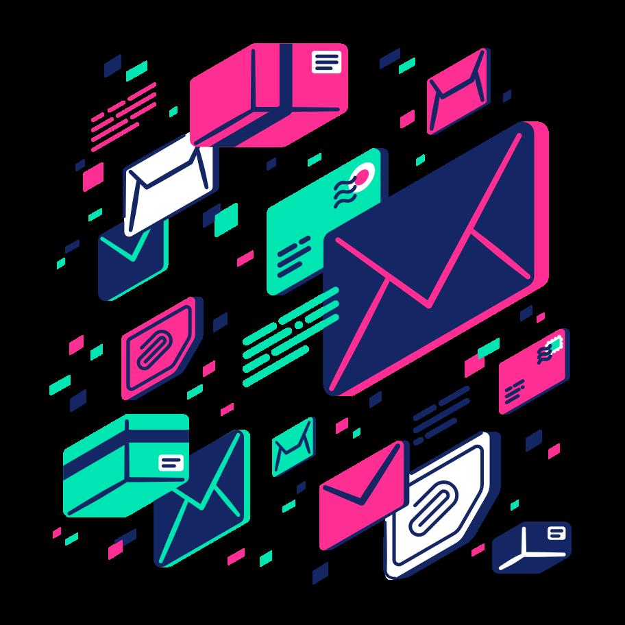 Ein Schaubild das versendete Dateien, Inhalte und E-Mails im darstellt.
