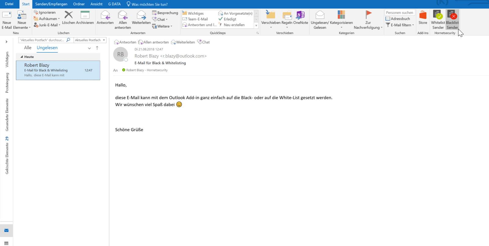 Ein Screenshot der Funktion Outlook Black & Whitelisting im Hornetsecurity Dashboard.
