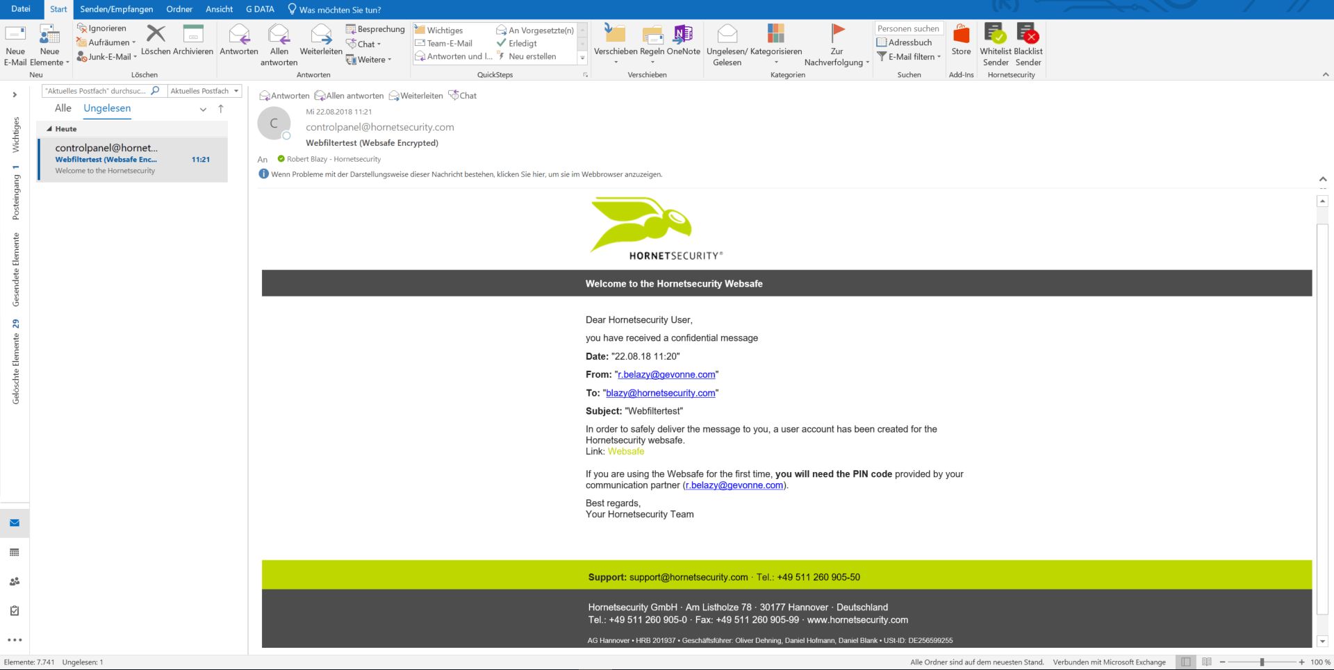 Ein Screenshot der Funktion Websafe im Hornetsecurity Dashboard.