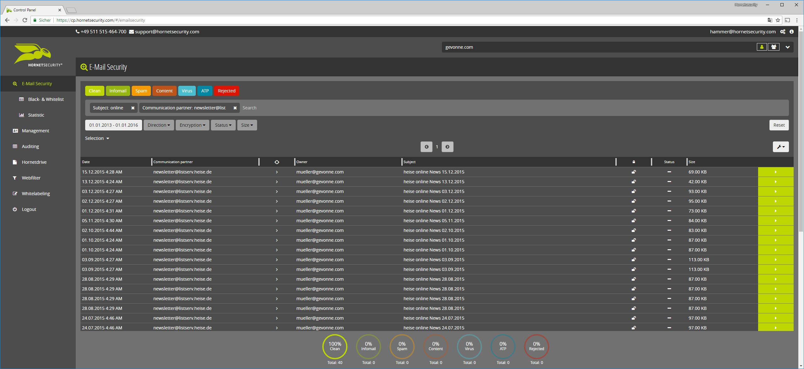 Ein Screenshot der Funktion 10 Jahre Aufbewharung im Hornetsecurity Dashboard.
