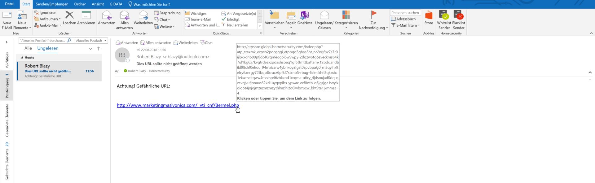 Ein Screenshot der Funktion URL Malware Control im E-Mail Postfach.