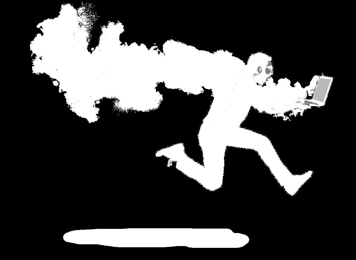 Ein Mann rennt mit seinem brennenden Laptop.