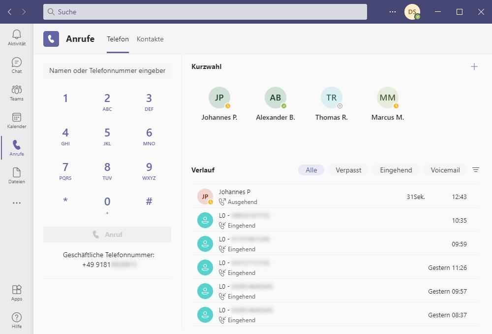 Ansicht zur Benutzeroberfläche NFON Cloudya mit Microsoft Teams.