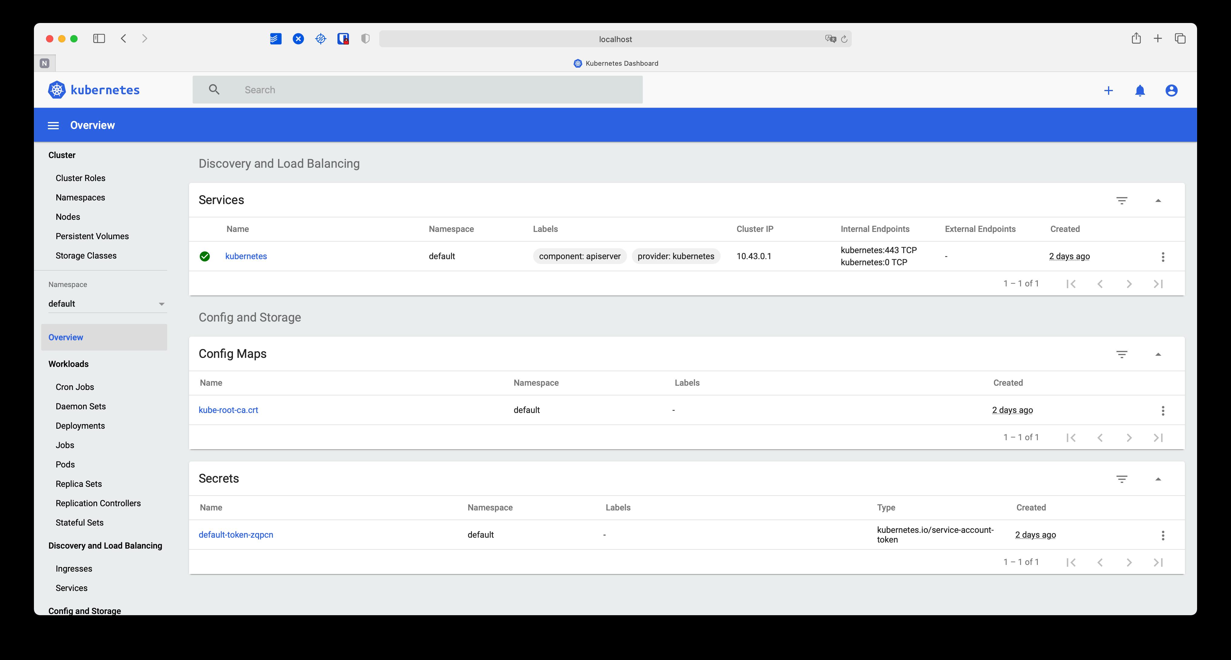 Web UI Initial Screen