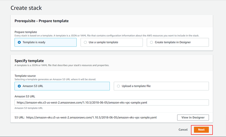 Stack Creation page