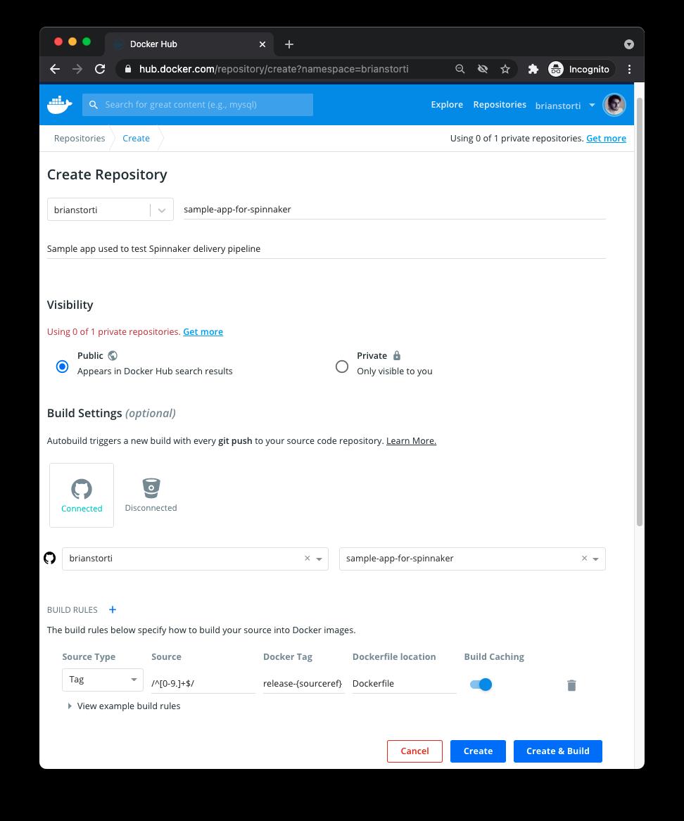 Docker Hub new repository page