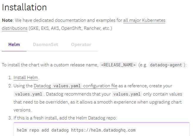 Datadog install