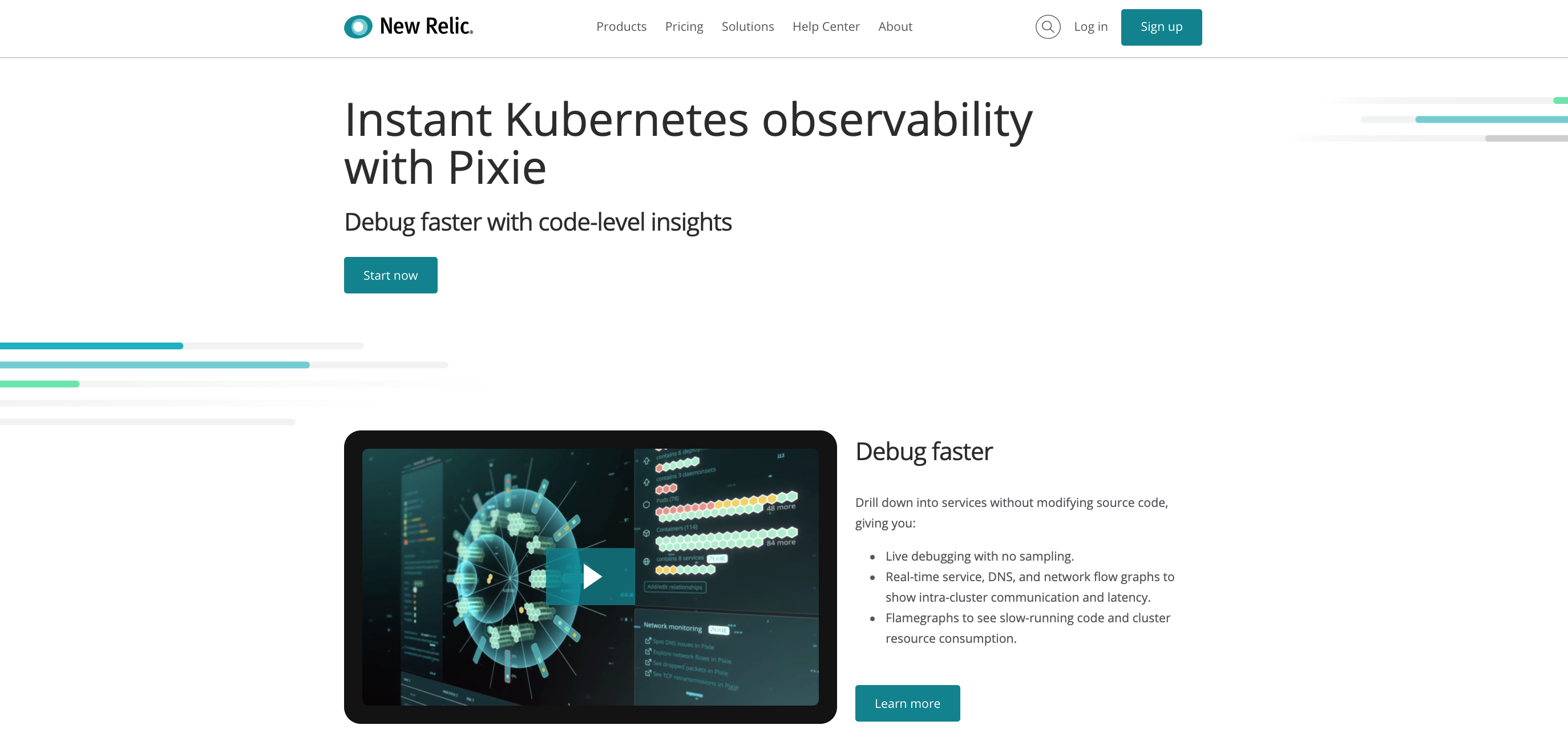 Pixie by New Relic Kubernetes Monitoring SaaS Platform
