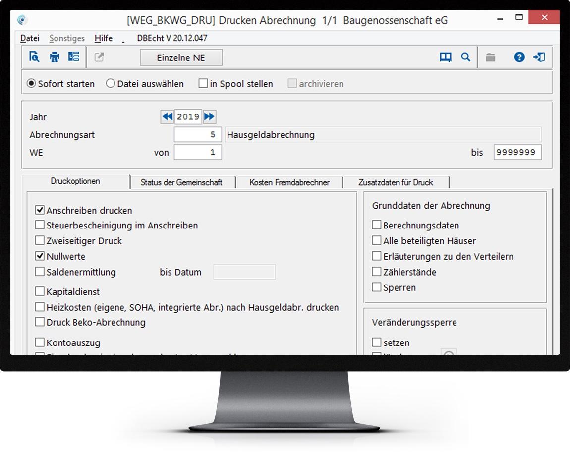 Bildschirm mit Auszug des Funktionsumfangs zur WEG Verwaltung mit Sondereigentumsverwaltung